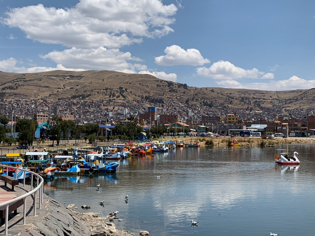 Pedal boats on Lake Titicaca