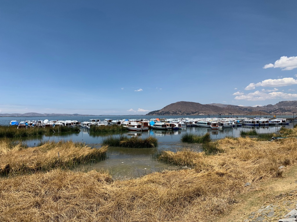 Tourist boats tied up on Lake Titicaca