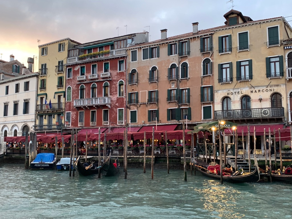 Buildings and gondolas in Venice