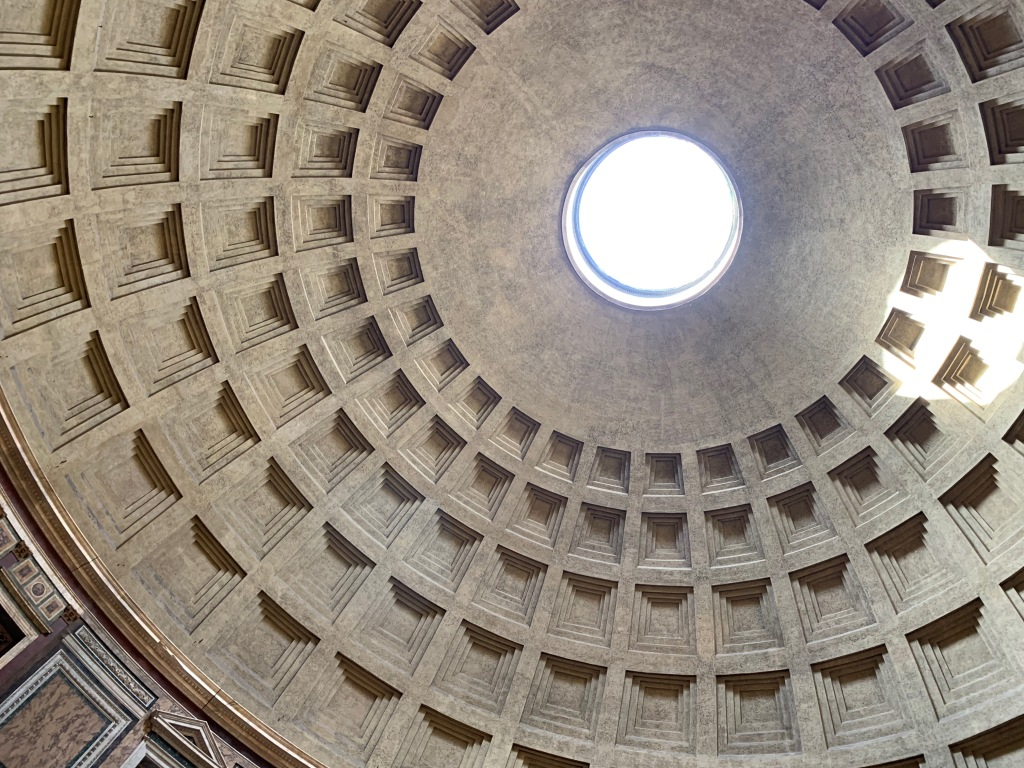 Looking up at the dome of the Pantheon