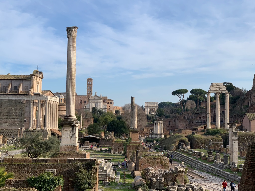 Looking east along the Roman Forum toward the Arch of Titus.