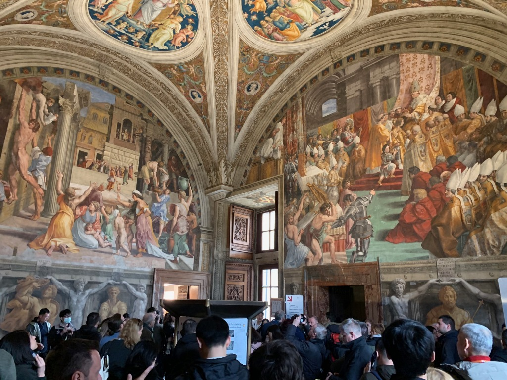 View of the Raphael Rooms with tourists