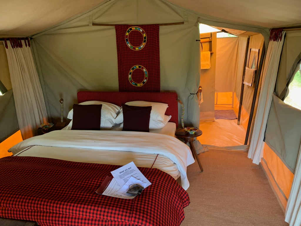 Inside of a tent camp on Safari