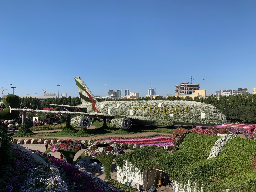 Flower-covered A380 airplane at the Dubai Miracle Garden