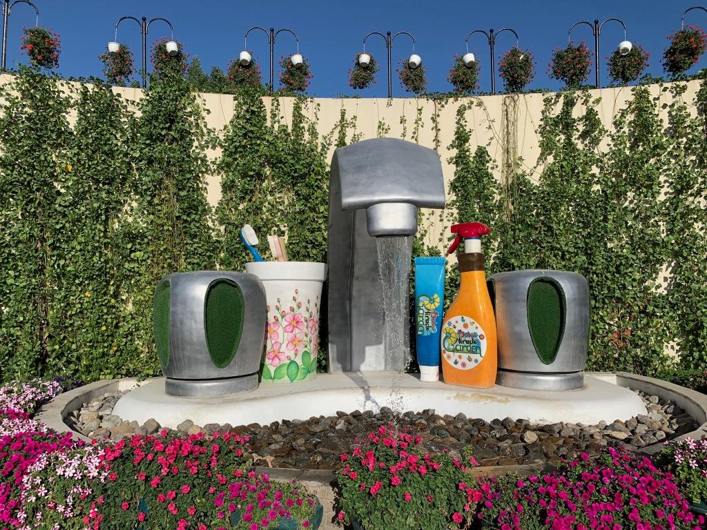 Giant bathroom sink at the Dubai Miracle Garden