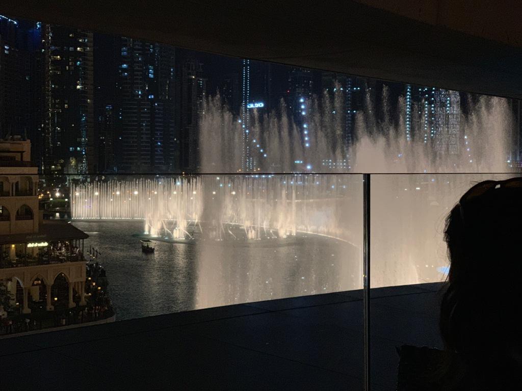 Dubai Fountains at night, from TGI Fridays