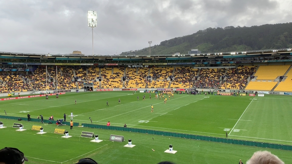 Rugby game at Wellington Sky Stadium