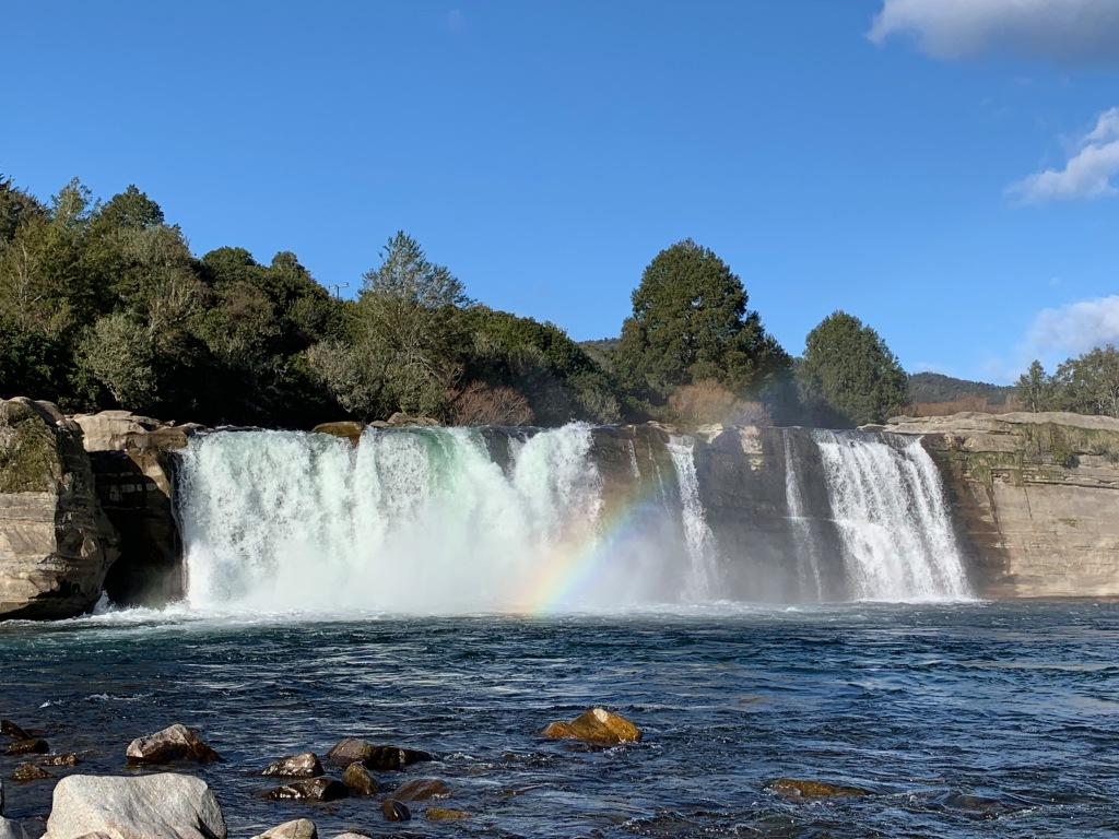 Maruia Falls with a rainbow