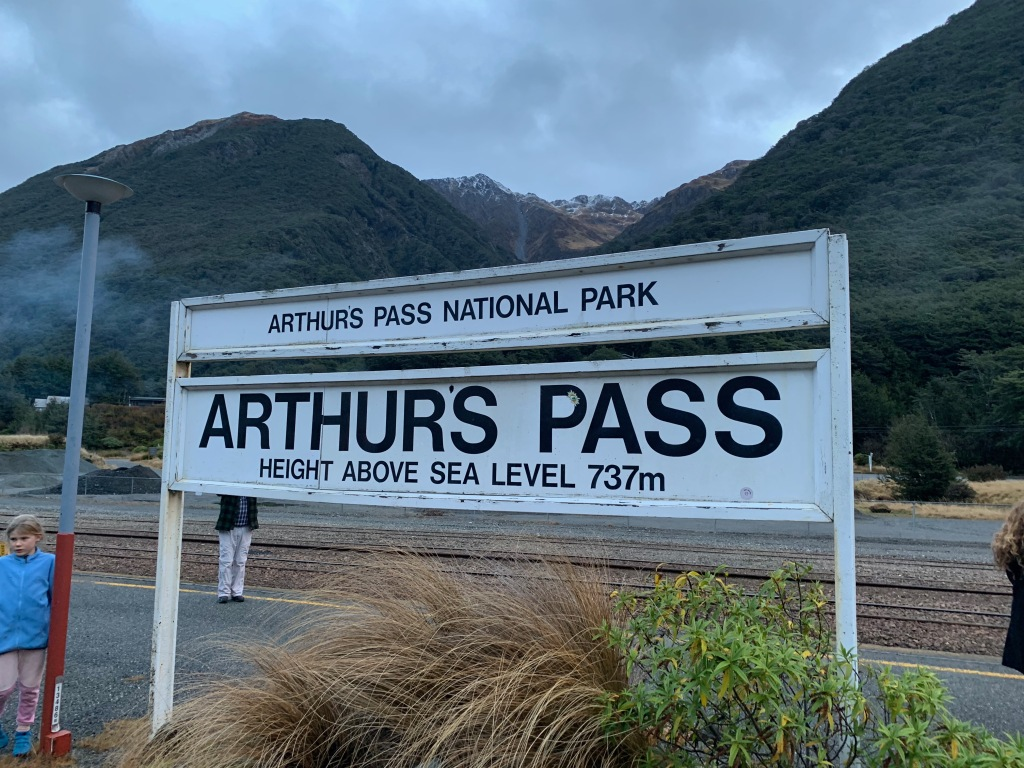 Sign at the Arthur's Pass train station
