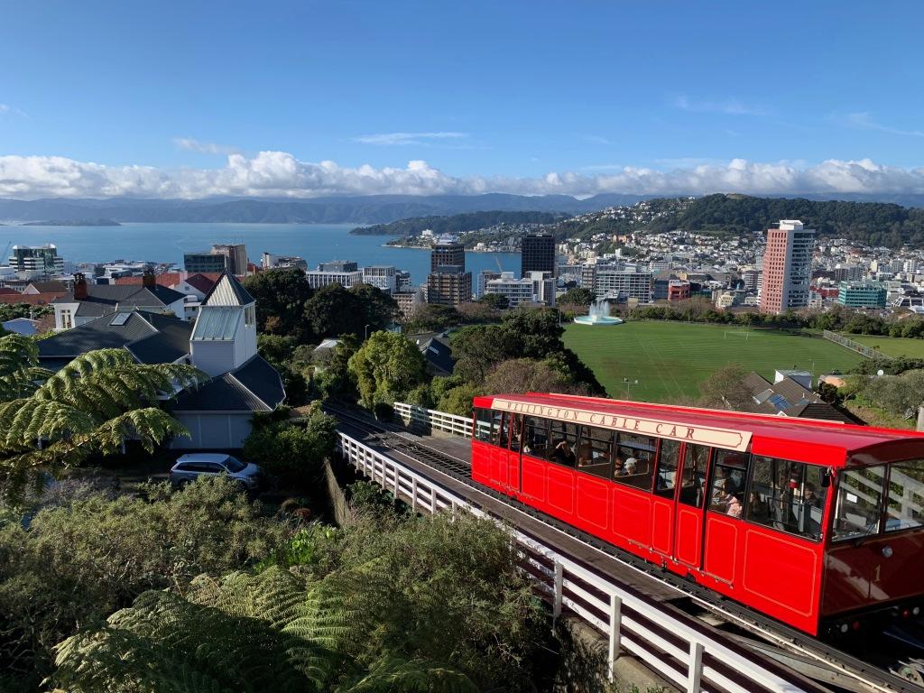 Wellington cable car descending toward the city